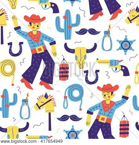 Cowboy Party Seamless Pattern. Child Vector Background With Dancing Cowboy, Cactus, Horse, Revolver,