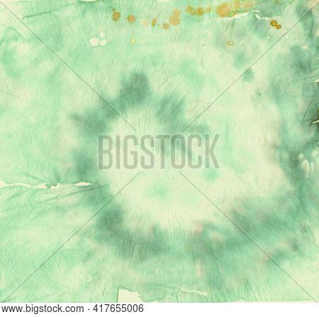 Texture Tie Dye. Color Watercolor Design. Hippie Painting. Green Tye Dye Paint. Circular Roll. Abstr