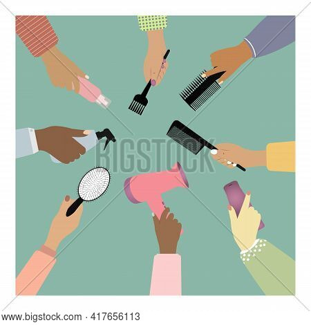 Women's Hands Hold Hairdressing Tools. Hands Of Different Skin Colors Hold Hair Care Items. Vector I