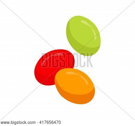 Colorful Cute Candy Pieces Isolated On White Background. Minimalistic Tasty Fruity Candy For Kids. C