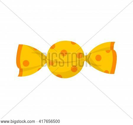 Yellow Cute Packaged Candy Isolated On White Background. Minimalistic Tasty Fruity Candy For Kids. C