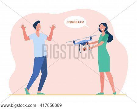 Cartoon Woman Congratulating Man, Holding Drone. Flat Vector Illustration. Girl Congratulating Man O