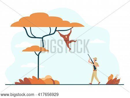 Tiny Man Aiming At Monkey With Gun In African Jungle. Flat Vector Illustration. Cartoon Man Hunting