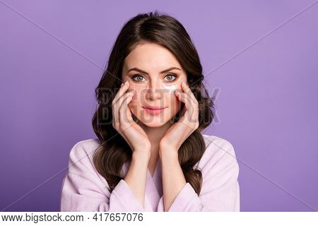 Photo Of Young Girl Enjoy Cosmetology Procedure Apple Eye Patches Lifting Hydration Isolated Over Pu