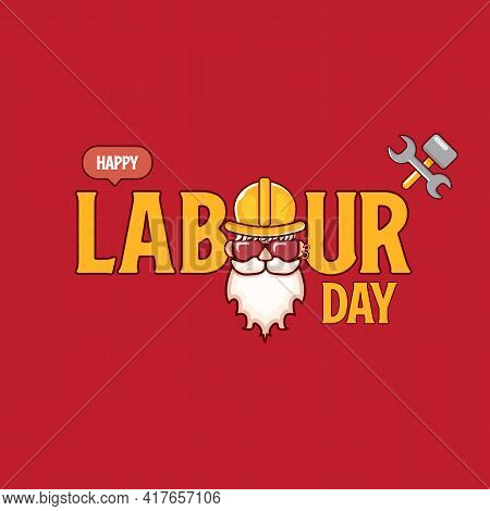Happy Labour Day Vector Label With Funky Worker On Red Background. Vector Happy Labor Day Background