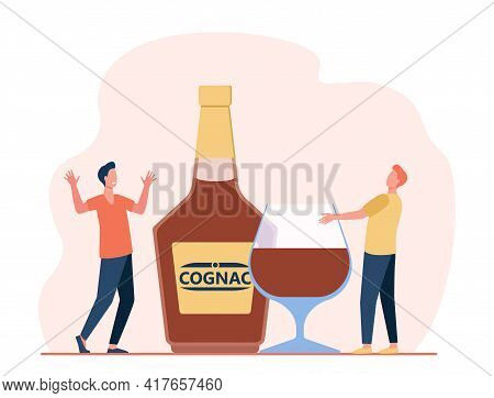 Two Tiny Men With Giant Glass And Bottle Full Of Alcohol. Flat Vector Illustration. Friends With Alc