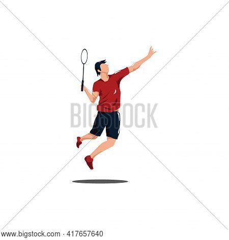 Men Badminton Player Jumping At Court - Sport Men Are Playing Badminton Attack With Smashing Shuttle