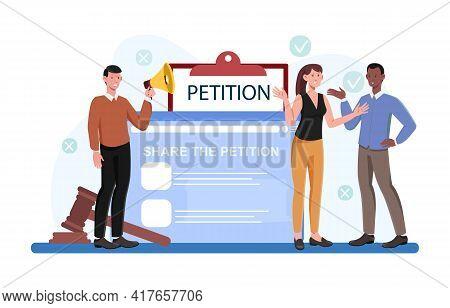 Male And Female Characters Are Signing Petition Online Together. Concept Of Collective Public Appeal