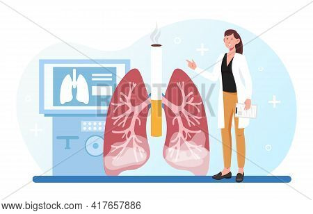 Female Doctor Is Studying Affected Smoker Lungs In Hospital. Dark Red Ill Lungs Of A Heavy Smoker. W