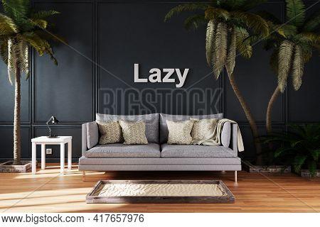 Elegant Living Room Interior With Vintage Sofa Between Large Palm Trees; Lazy; 3d Illustration
