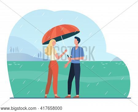Cartoon Couple Standing Under Rain With Umbrella. Flat Vector Illustration. Young Happy Man And Woma