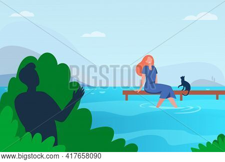 Woman And Cat Sitting On Pier Flat Vector Illustration. .cartoon Woman Sitting On Pier With Feet Low
