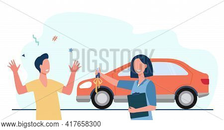 Cartoon Woman Giving New Car Keys To Happy Young Man. Flat Vector Illustration. Car Dealer And Custo