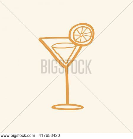 Martini cocktail graphic cute doodle in summer vacation concept