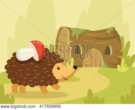 Happy Hedgehog Going To Tree Stump Home With Mushroom On Needles. Flat Vector Illustration. Cartoon
