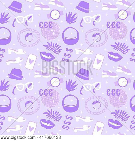 Life Style Shoes And Accessories Seamless Pattern. Vector Illustration Shoes, Sneakers, Bag And Acce