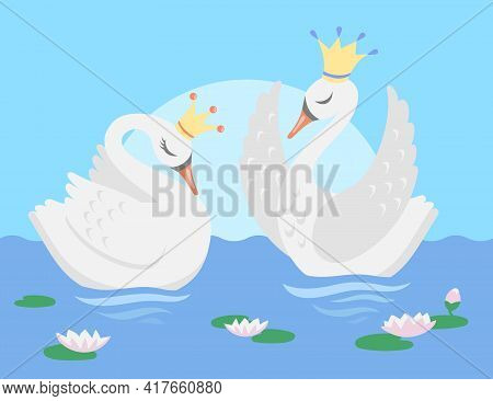 Couple Of White Swans Floating In Lake Vector Illustration. Cartoon Characters Of Beautiful Bird Pri