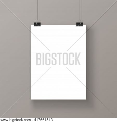 Blank Poster Mock-up Isolated. Blank Paper. Vector Illustration