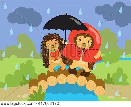 Two Cartoon Cute Hedgehogs Standing On Bridge In Rain. Flat Vector Illustration. Hedgehogs Holding U