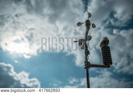 Modern Anemometer Or Weather Wind Vane For Measuring Meteorology Conditions