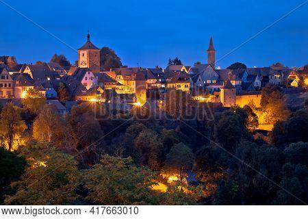 Rothenburg Ob Der Tauber. Historic Town Of Rothenburg Ob Der Tauber Evening Landmarks View, Romantic