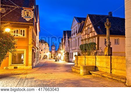 Rothenburg Ob Der Tauber. Hisoric Tower Gate And Cobbled Street Of Medieval German Town Of Rothenbur