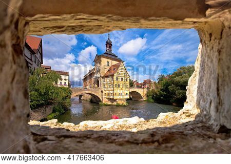Bamberg. Scenic View Of Old Town Hall Of Bamberg (altes Rathaus) With Two Bridges Over The Regnitz R