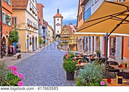 Famous Plonlein Gate And Cobbled Street Of Historic Town Of Rothenburg Ob Der Tauber View, Romantic