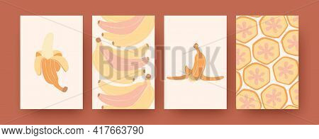 Banana Collection Of Contemporary Art Posters. Modern Peel And Slices Of Banana Vector Illustrations