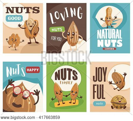 Comic Nuts Characters Banners Set. Cartoon Vector Illustration. Posters With Cute Almond, Hazelnut,