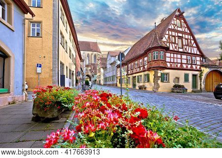 Idyllic Germany. Cobbled Street In Medieval German Town Of Rothenburg Ob Der Tauber View. Bavaria Re