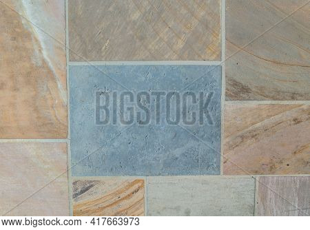 Looking Down On Old Colorful Cut Rock And Stone Set In Cement In Rectangle And Square Pattern Flat W