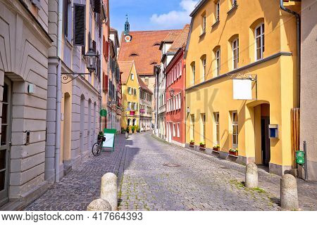 Ansbach. Old Town Of Ansbach Picturesque Cobbled Street View, Bavaria Region Of Germany