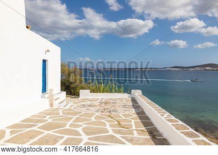 Paros Island, Greece - 27 September 2020: View Of The Monastery Of Saint John Of Deti On Paros Islan