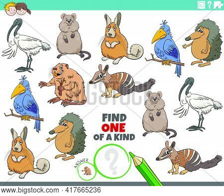 Cartoon Illustration Of Find One Of A Kind Picture Educational Game With Funny Animal Characters