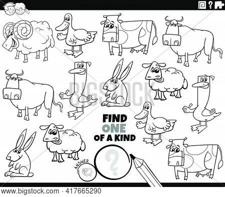 Black And White Cartoon Illustration Of Find One Of A Kind Picture Educational Game With Funny Farm