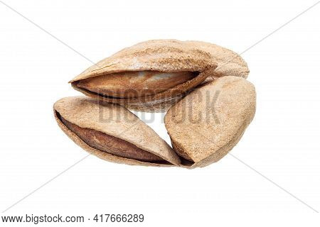 Heap Of Dried Almonds In Nutshell With Kernel Protein Healthy Food For Vegetarian Closeup Isolated O