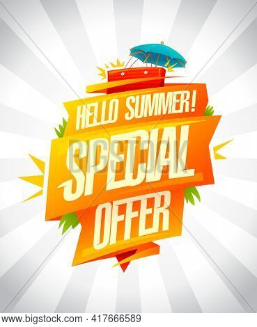 Special summer offer sale poster, hello summer seasonal discounts, rasterized version