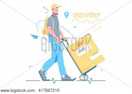 Male Courier Deliver Cardboard Box Vector Illustration. Guy Carry Order To Recipient Flat Style. Del