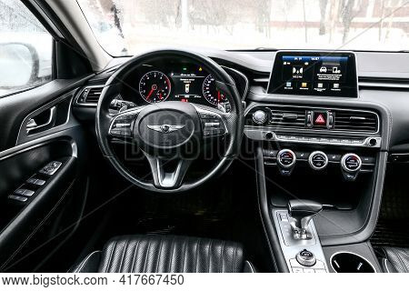 Moscow, Russia - January 24, 2021: Interior Of The Compact Executive Sedan Genesis G70.