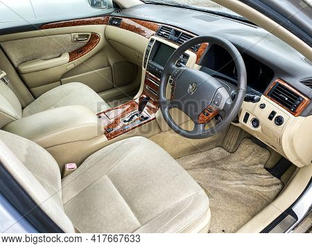 Arusha, Tanzania - February 8, 2021: Interior Of The Luxury Japanese Sedan Toyota Crown.