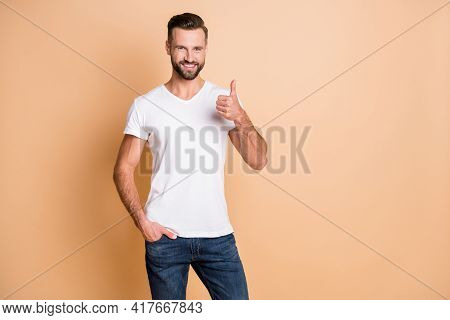 Photo Of Young Stubble Man Happy Positive Smile Show Thumb-up Advert Like Cool Perfect Isolated Over