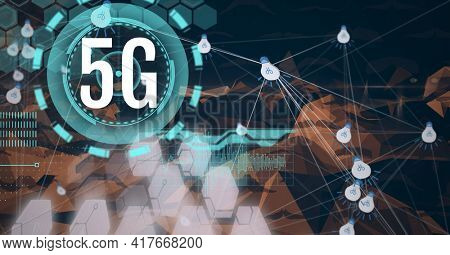 Composition of 5g text over scope scanning and network of connections with light bulbs. global networking, communication and digital interface concept digitally generated image.