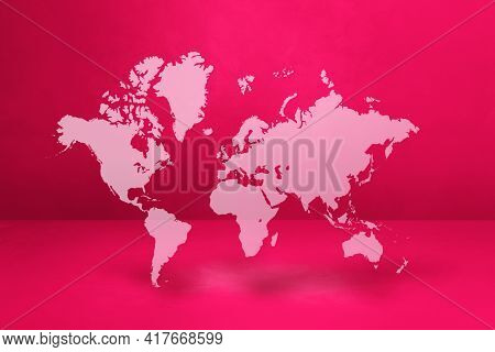 World Map Isolated On Pink Wall Background. 3d Illustration
