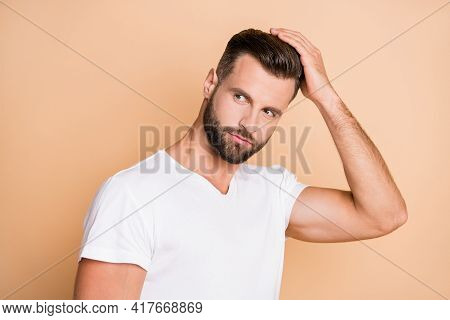 Photo Of Young Handsome Man Enjoy Hair Care Treatment Lotion Hairdo Look Empty Space Isolated Over B