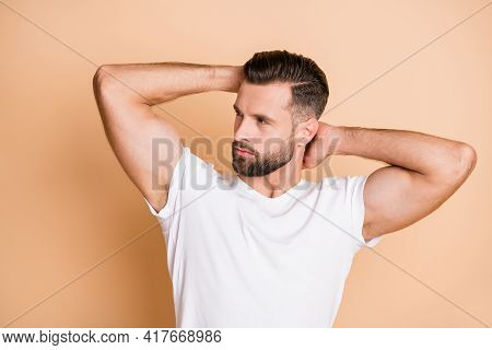 Profile Side Photo Of Young Handsome Bristle Man Look Empty Space New Haircut Hairdo Isolated Over B