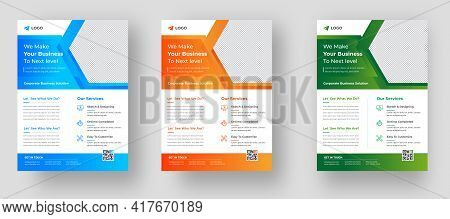 Corporate Business Flyer Template Design Set With Orange, Blue, And Green Color. Marketing, Business