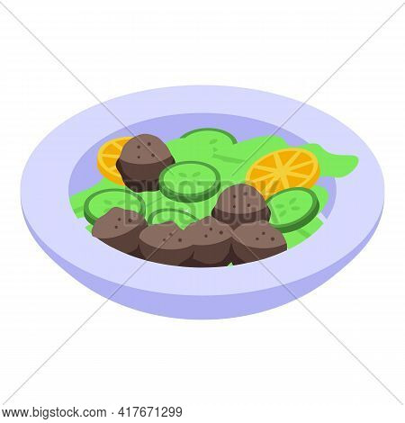 Cucumber Falafel Icon. Isometric Of Cucumber Falafel Vector Icon For Web Design Isolated On White Ba
