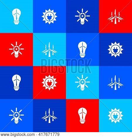 Set Light Bulb With Wind Turbine, Solar Energy Panel, Gear And Wind Turbines Icon. Vector