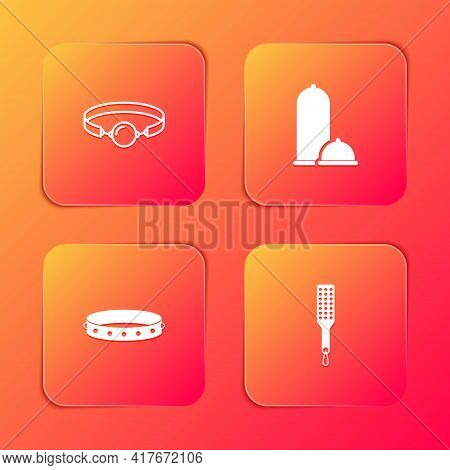 Set Silicone Ball Gag, Condoms Safe Sex, Leather Fetish Collar And Spanking Paddle Icon. Vector